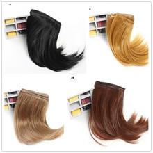 Лидер продаж, 15 см длина, натуральные короткие волнистые волосы, BJD, кукольный парик, хаки, коричневый, белый, черный, высокая температура, шелковая Линия для волос, плотное качество