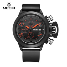 MEGIR 2002 military watch waterproof quartz wristwatch men's fashion luminous watch watches silicone band quartz wristwatch man