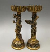 China pure brass dragon and phoenix candlestick A pair