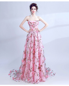 Image 4 - Walk Beside You Pink Flowers Prom Dresses 2020 Long Strapless Sweetheart vestido de formatura longo Evening Gown Party Halloween