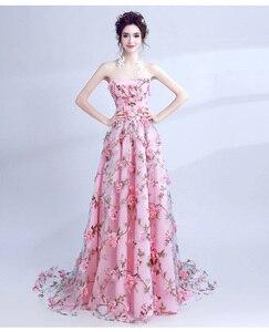 Image 4 - Walk bside You vestidos de graduación con flores, color rosa, Largo sin tirantes, encantador, vestido de formatura largo, vestido de noche para fiesta de Halloween, 2020