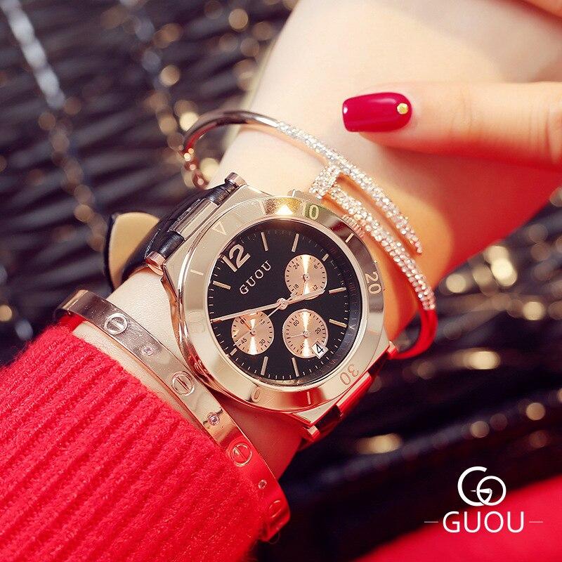 Montres de luxe en or Rose pour femmes calendrier multi-cadran mode en cuir Quartz montre-bracelet pour femmes tenue décontractée horloge Ceasuri