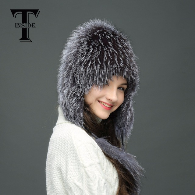 T-INSIDE Winter Fur Hats for Women Silver Fox Fur Hat in Good Quality with Fur Tails Pom Pom Knit Beanies with Lining