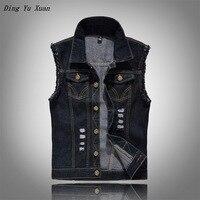 Plus Size 6XL Cotton Jeans Sleeveless Jacket Men Blue Black Denim Vest Men Denim Vest Mens Hip Hop Jacket Colete Masculino Gilet