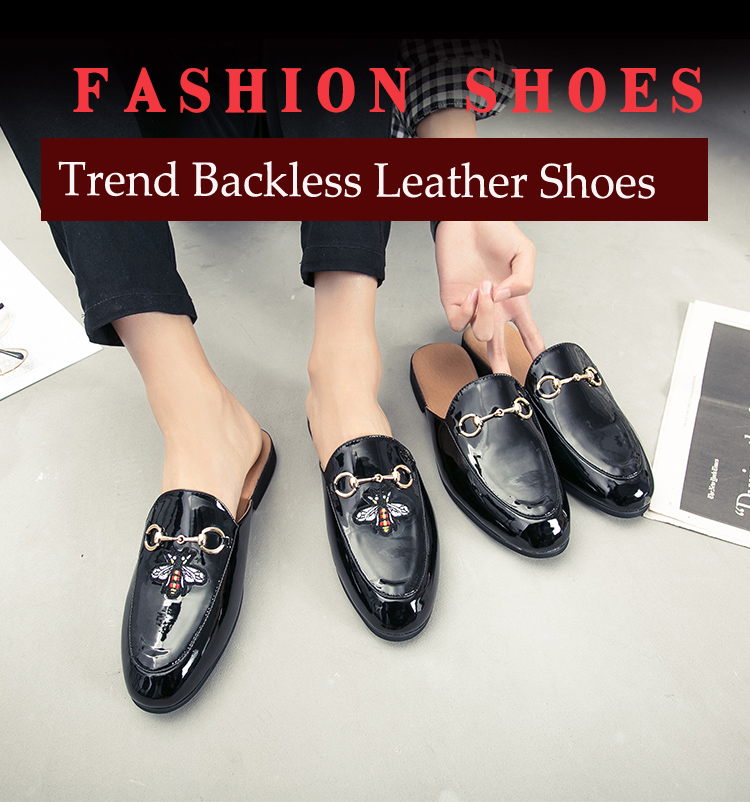 Men Backless dress leather slipper shoes Men unisex Bee prints Horseshoe buckle Casual business wedding Leather shoes women 8