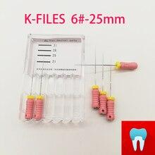 6 шт./упак. 6#-25 мм Стоматологическая Файлы к корневого канала эндо файлы стоматологических инструментов ручной файлы Нержавеющая сталь K файлы стоматологии лабораторные инструменты