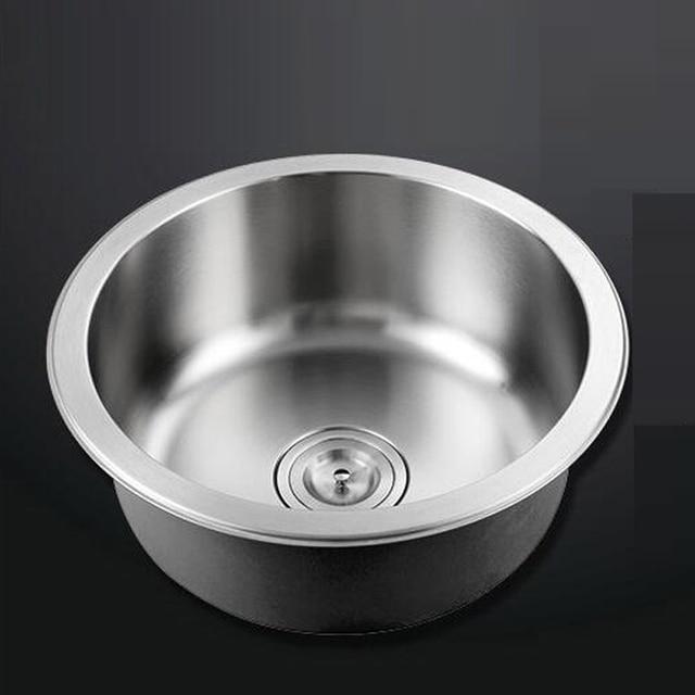 Kitchen circular single trough vegetable basin 304 stainless steel ...