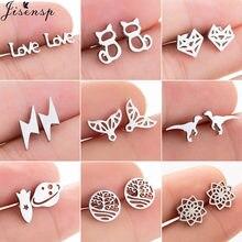 Jisensp – boucles d'oreilles en acier inoxydable pour femmes et filles, bijoux en forme de renard, minimaliste, arbre, sirène, chat, Animal