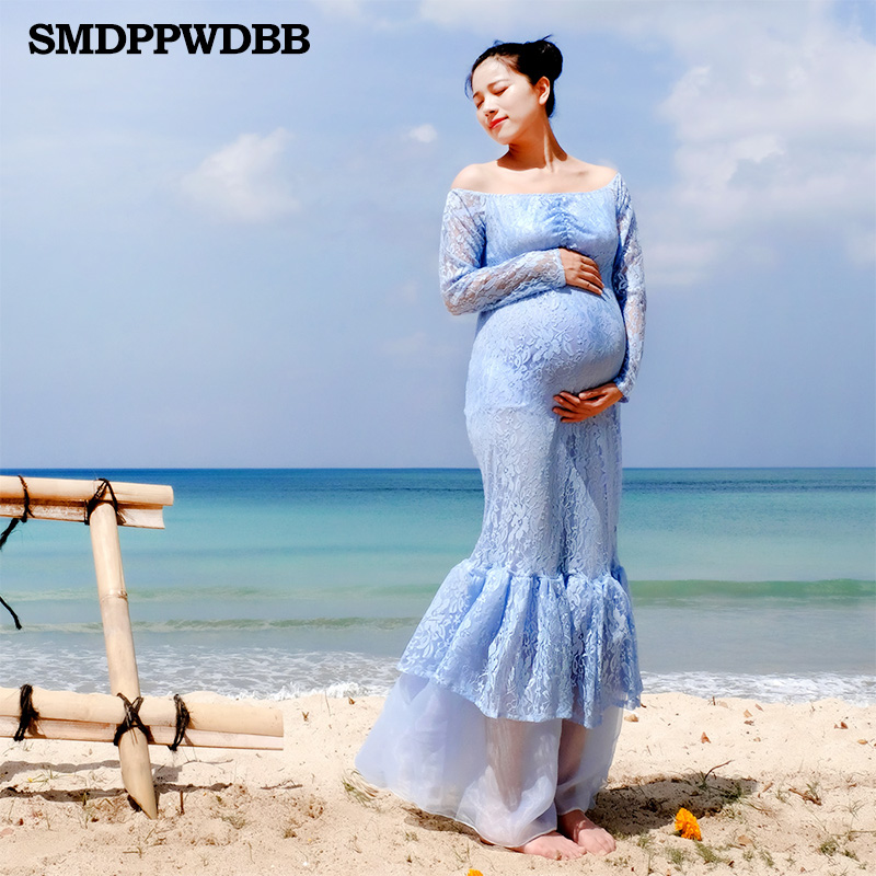610e0e4513 SMDPPWDBB Maternity Photography Props Gown Pregnancy Clothes Maxi Maternity  Dresses Plus Size Blue Long Sleeve Lace Dress
