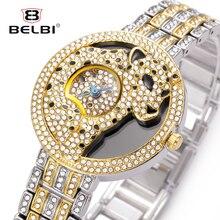BELBI Leopard Women Watches Diamond Luxury Alloy Female Wristwatches Waterproof Small Dial Analog Relogio Feminino Clock Brand