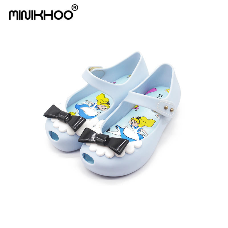 Mini Melissa 2 Color 2018 New Mini Jelly Sandals Childrens Sandals Bow Fashion Princess Jelly Shoes Sandals Jelly Sandals