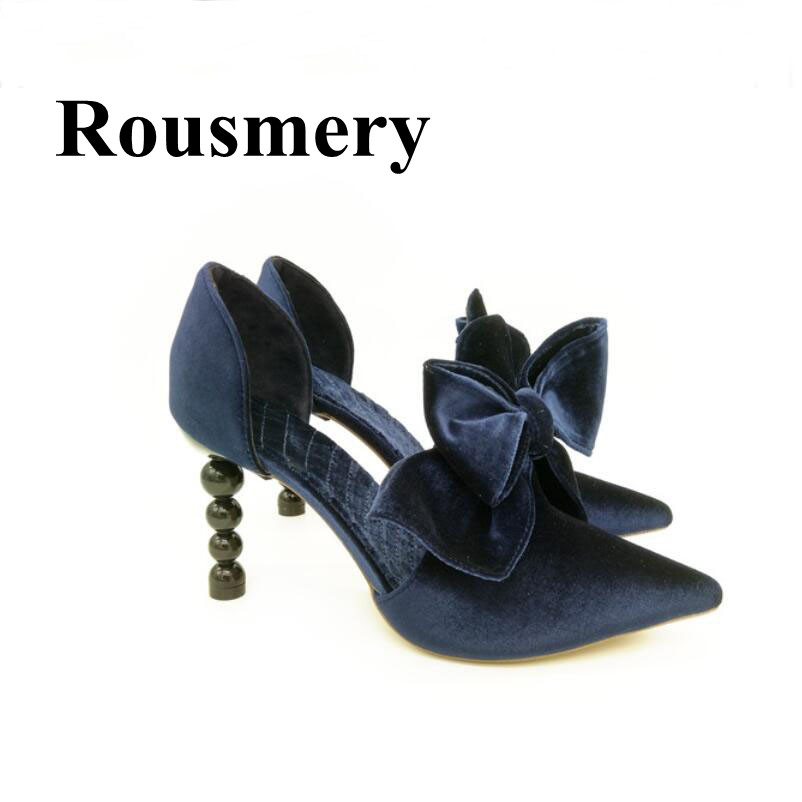 Europe Hottest Pearl Heel High Heel Pointed Toe Flock Fashion Shoes Butterfly-knot Decoration Shallow Spring Summer Women Pumps europe america style summer slippers women thin high heel pointed toe pearl fashion denim sandals shoes size 35 40 sxq0709
