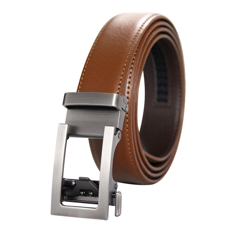 High Quality Men's Ratchet Click Belt Genuine Leather Dress Belt For Men Jeans Holeless Automatic Sliding Buckle Brown Belts