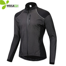WOSAWE Winter Thin Thermal Fleece Cycling Jacket Mens Warm MTB Bike Clothing Sportswear Windbreaker Water Repellent Sports Coat