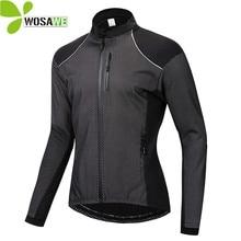 WOSAWE Winter Thin Thermal Fleece Cycling Jacket Mens Warm MTB Bike Clothing Sportswear Windbreaker Water Repellent Sports Coat