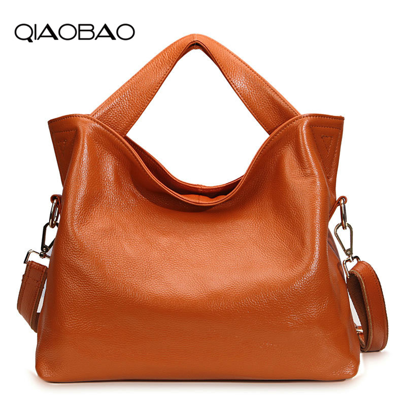 QIAOBAO 2018 Cowhide Leather Bags Handbags Women Brand Shoulder Bag Female Casual Tote Women Messenger Bag Lady Bolsas Feminina
