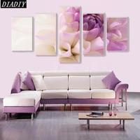 5 stks/set Diy 5d Diamant Schilderen Kruissteek roze Lotus, Diamant Borduurwerk Bloem woondecoratie, diammod mozaïek muur stickers