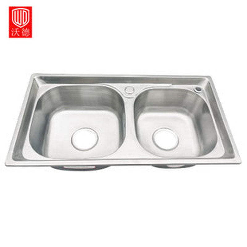 SUS304 Stainless Steel Sink Home Kitchen Filter Sink with Drain Assembly Waste Strainer Basket One-piece Thickened Double Tank 450x390x200mm 304 stainless steel kitchen sink brushed single bowl slot vegetable trough tank with faucet basket drain assembly