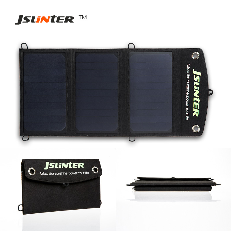 Portable solar charger for mobile, Jslinter 5v 18w solar cells solar panel USB output, outdoor for phone