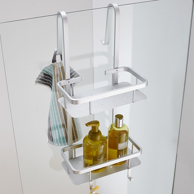 Contemporary Space Aluminum Silver Corner Basket Bathroom Shelf 2-layer Brushed Cosmetic Holder Bathroom Accessories G66
