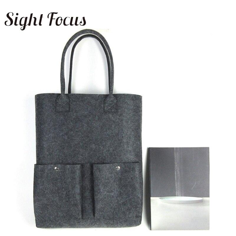 Sight Focus Brand Custom Spacious Eco Women Felt Shopping Bag Large Capacity Grey Felt Tote Bag Double Pocket felt shoulder bag granfest eco 18 grey