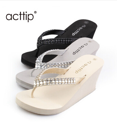 061a7393e Free shipping Acttip wedges slippers Women flip flops shoes sandals  (size35-39) black beige grey color