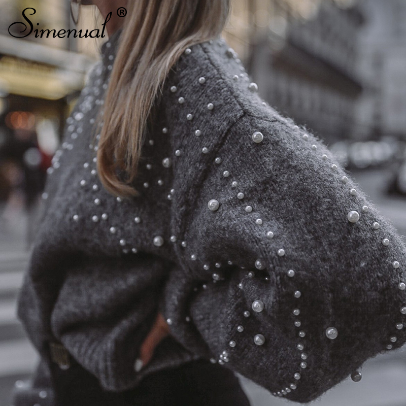 Simenual Autumn winter 18 women sweaters and pullovers bead lantern sleeve knitted sweater pullover female grey slim jumpers 7