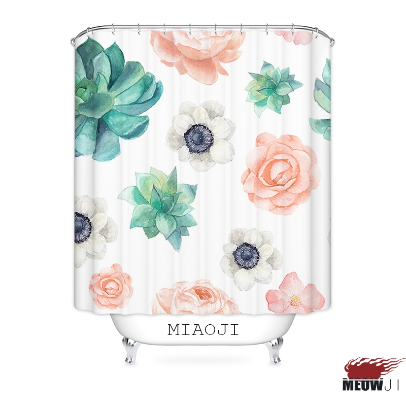 Flower Shower Curtain Floral Petal Ornaments Print for Bathroom