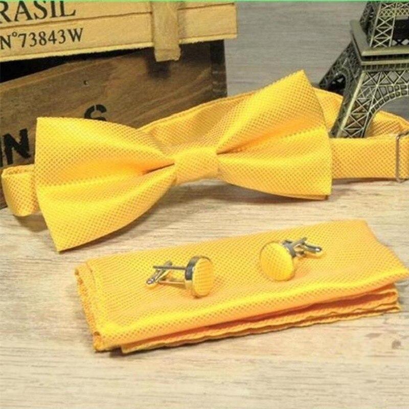 3 pcs men bow tie and handkerchief cuff link coffee bow tie dress shirt collar button