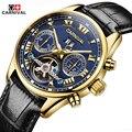 Carnival novo relógio mecânico moda masculina tourbillon oco relógios de pulso masculino relógio automático à prova d' água relogio automatico