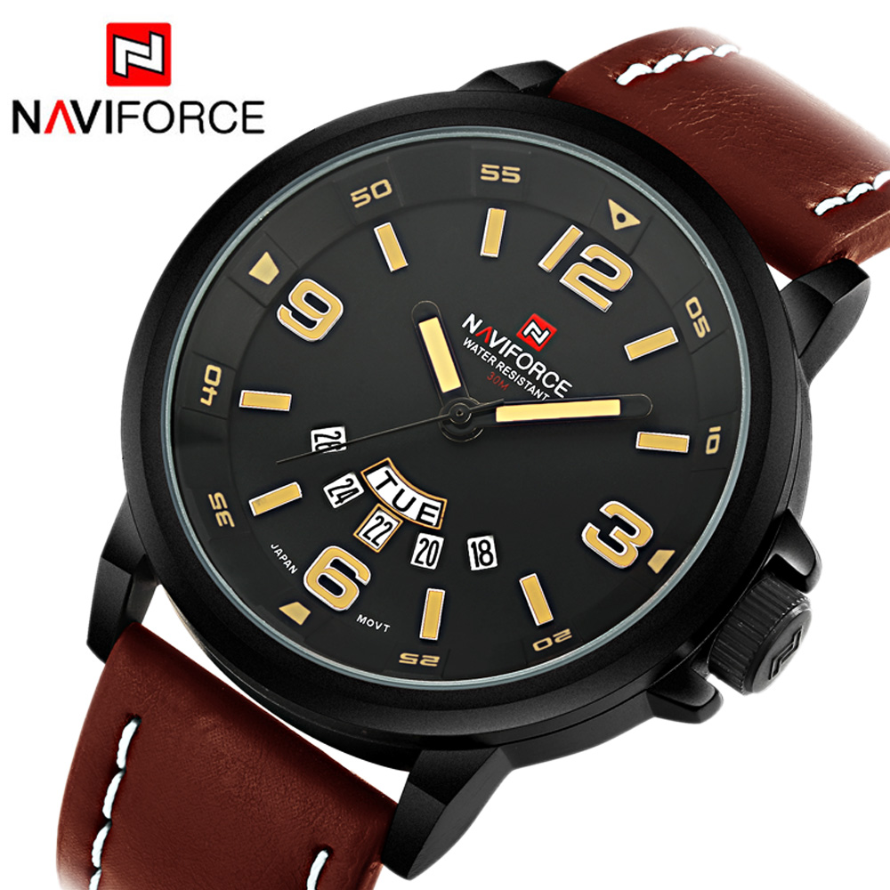 2019 NAVIFORCE Casual Watch Top Brand Luxury Fashion Watches Men Sport Quartz Watch Leather Dive Wristwatch Male Relogio Clock
