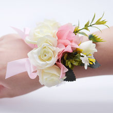 Handmade Wedding Dancing Decor Bride Boutonniere Bride Bridesmaids Wrist Corsages Bridal Bracelet Demoiselle D'honneur(China)