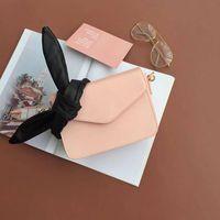 Envelope Type Pure Color Flip Side Small Square Shoulder Bag Bow Knot Single Shoulder Slanting Leather Cowhide White Handbag