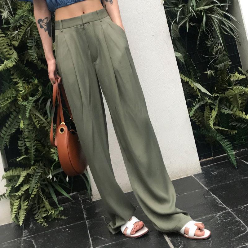 Autumn High Waist Wide Leg Pants Female  Zipper Pocket Satin Maxi Trousers Loose Large Size Long Pants 2018 Pantalon Femme