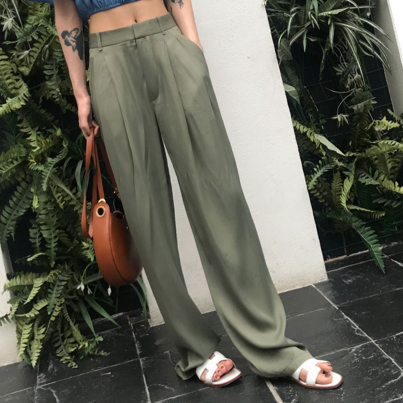Autumn High Waist   Wide     Leg     Pants   Female Zipper Pocket Satin Maxi Trousers Loose Large Size Long   Pants   2018 Pantalon Femme
