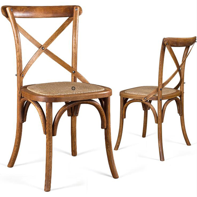 100% Silla de comedor de madera, roble antiguo silla, metal, ratán ...