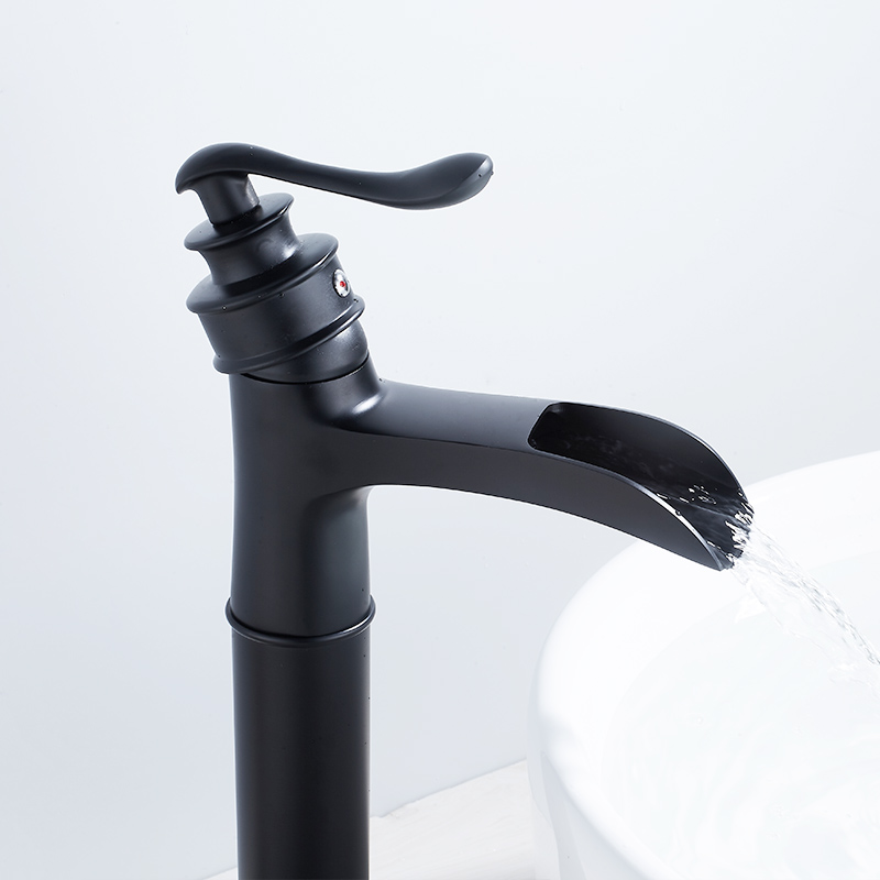 Fapully Basin Faucet Waterfall Faucet Brass Black Painting Tall Hot and Cold Modem Waterfall Basin Bathroom Mixer Faucet 1062 22 in Basin Faucets from Home Improvement