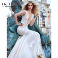 2017 Advanced Customized Spring Bridal Dresses Deep V Front Embroidery Sexy Mondern Wedding Dress Tiered Train vestidos de novia