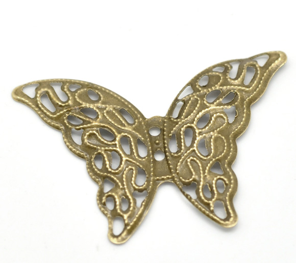 DoreenBeads Zinc metal alloy Embellishments Findings Butterfly Antique Bronze Flower Hollow Pattern 4.1cm x 29mm ,10 PCs 8seasons 10 antique bronze filigree flower embellishments findings 5 5x4 8cm can hold ss10 rhinestone b18567