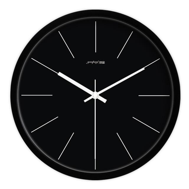Black Simple Living Room Quiet Quartz Wall Clock Home Decoration Bedroom Fashion Creative Clocks