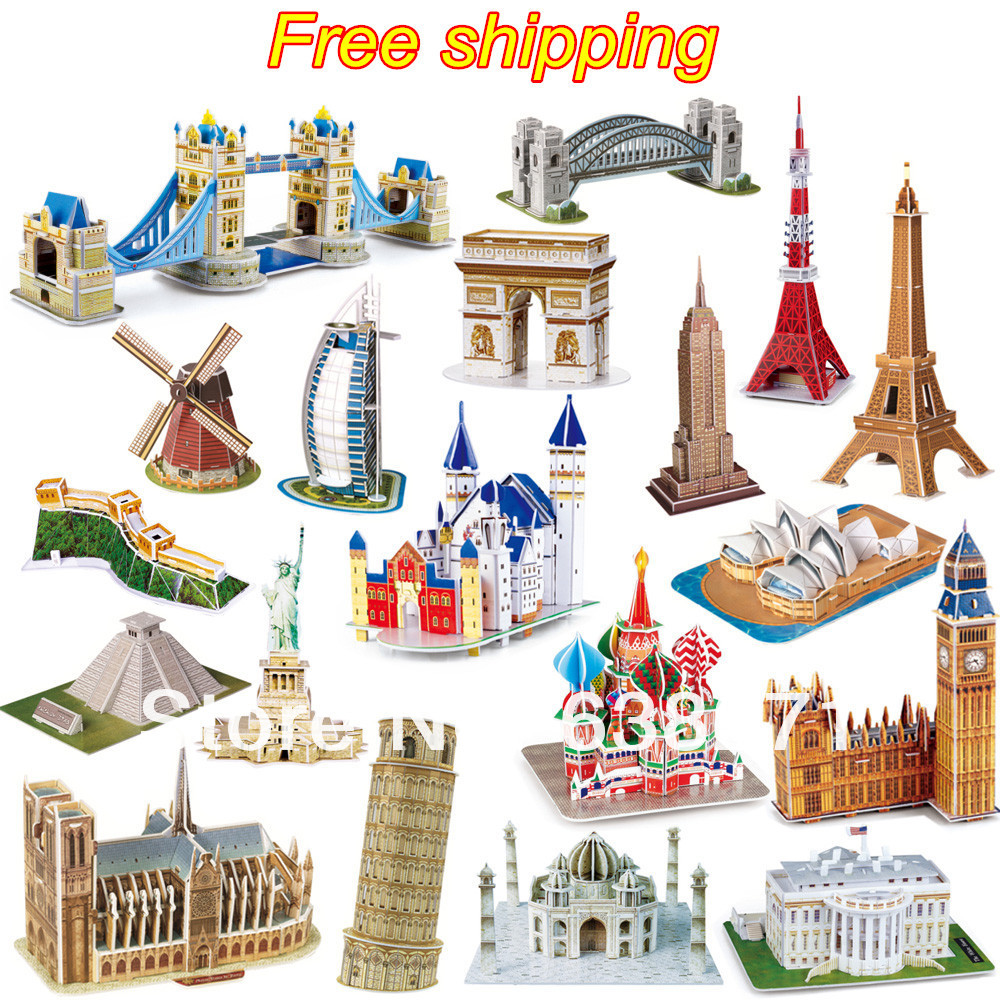 Hot Sale Puslespill Toy 3D Puslespill Famous Building Model Puzzle for Kid's Educational Toy 23 stil for utvelgelse