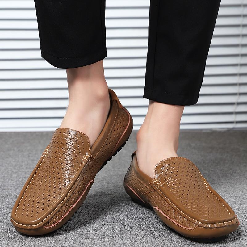 HTB14hQNM3HqK1RjSZFPq6AwapXar Summer Men Shoes Casual Luxury Brand Genuine Leather Mens Loafers Moccasins Italian Breathable Slip on Boat Shoes Black JKPUDUN