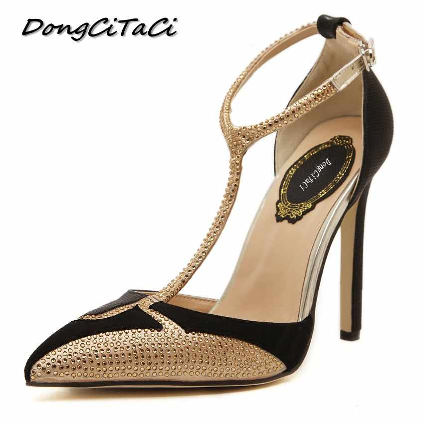 DongCiTaCi Wedding Party Women High heels T-Strap Shoes Woman Pumps Fashion  Female Shallow Pointed 7a020f12141