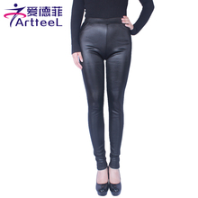 New 2016 Casual Women Winter Plus Thicken Leggings Imitation Leather Plus Velvet High Elastic Warm Skinny Pants Size XL-5XL