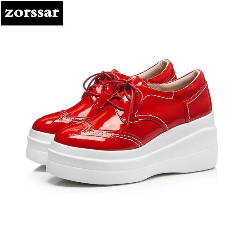 {Zorssar} 2018 NEW fashion Patent leather womens pumps shoes casual Lace-up Round toe Wedges High heels women Creepers shoes