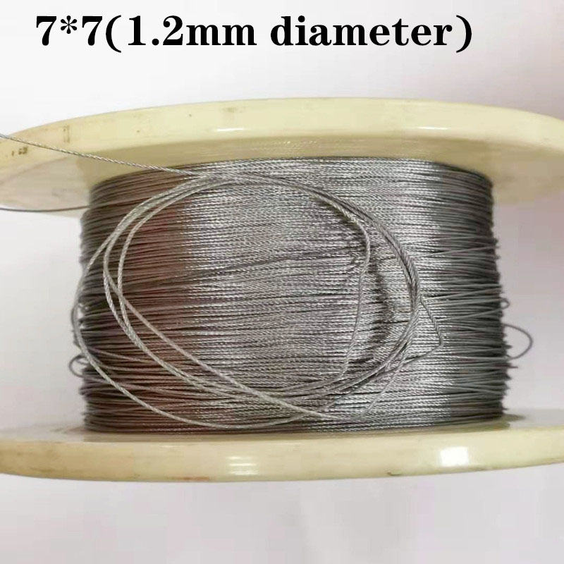 100M 304  1.2mm Diameter Stainless Steel Wire Rope Cable Softer Fishing Lifting Cable 7X7 Structure 1.2mm Diameter