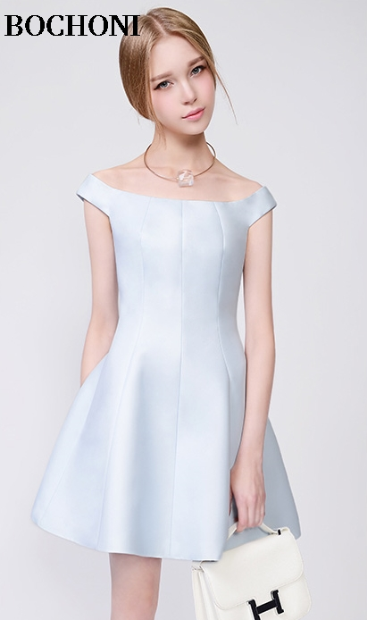 BOCHONI 2018 new Light blue sweet boat neck dress custom party dress