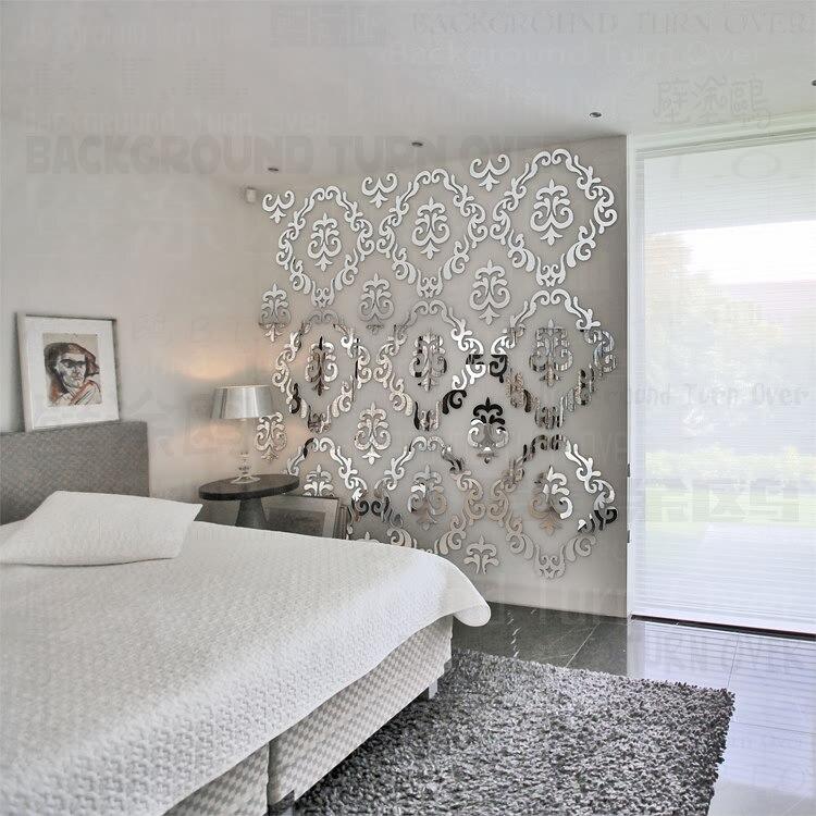 diy creativo de lujo de estilo europeo patrn tallado d acrlico espejo de pared pegatinas sala