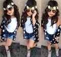 La ropa y el calzado 3 unids baby girls ropa de verano flores camisa + chaleco blanco + pantalones vaqueros cortos ropa de los cabritos de la manera