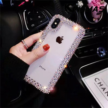 Transparent diamond-encrusted mobile case for iPhone 6 6S 7 8 plus shiny phone case for iPhone X XS XR MAX soft plastic case enkay boy pattern diamond encrusted plastic case back cover for iphone 4 4s white multicolor